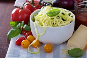 Zucchini noodles make a great low carb swap for regular pasta.